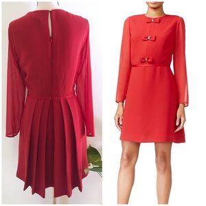 NWT Maison Jules Bow Trim Chiffon Sleeve Red Dress